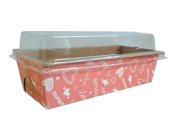Assadeira forneável bolo inglês com tampa estampa Love capacidade 400g