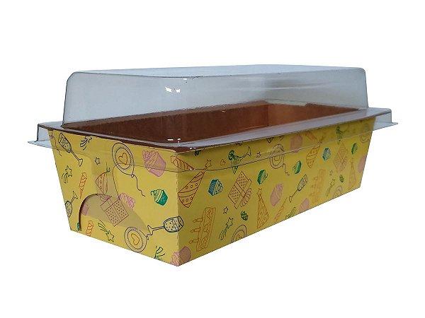 Assadeira forneável bolo inglês com tampa estampa Festa capacidade 300g