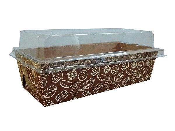 Assadeira forneável bolo inglês com tampa estampa Cake capacidade 400g