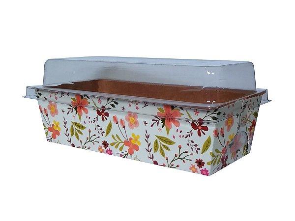 Assadeira forneável bolo inglês com tampa estampa Floral capacidade 400g