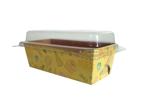 Assadeira forneável bolo inglês com tampa estampa Festa capacidade 65g