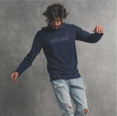 Camiseta Nogah com Capuz Poá Marinho