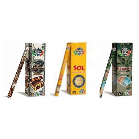 Super Kit de Incensos Fique Rico Com 600 Varetas + Bônus Incensário Bambu