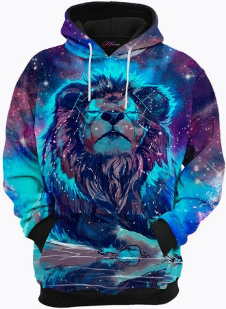 Blusa de Frio Moletom Leão Galáxia 3D