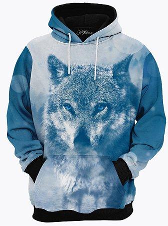 Blusa de Frio Moletom Lobo Azul