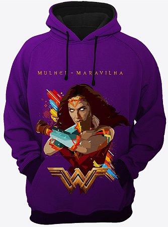 Blusa de Frio Moletom Liga da Justiça Mulher Maravilha