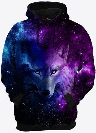 Blusa de Frio Moletom Lobo Galáxia