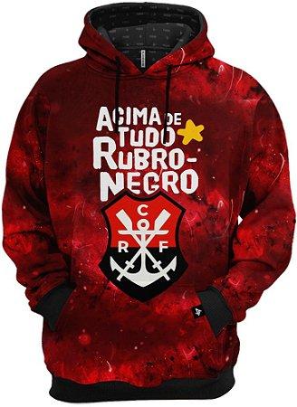 Blusa de Frio Moletom Flamengo Acima De Tudo Rubro Negro