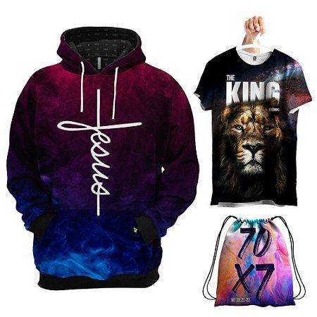 KIT 1 Moletom 1 Camiseta 1 Bolsa Jesus o Rei