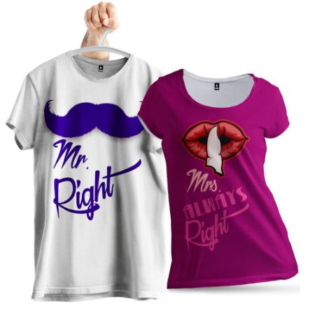 KIT 2 Camisetas Mr. Right e Mrs. Almays Right