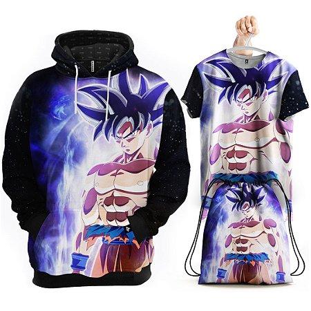KIT Moletom Goku Instinto Superior Dragon Ball Super - Grátis Camisa e Bolsa
