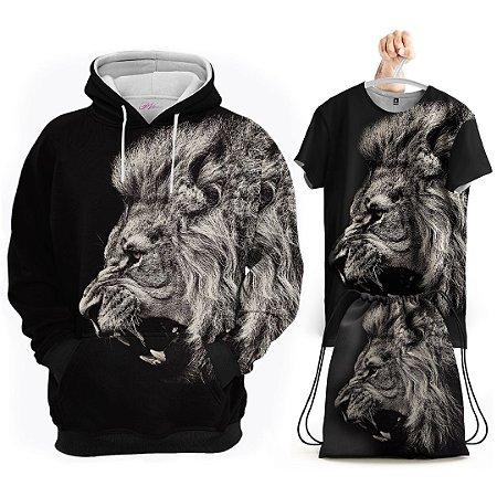 KIT Moletom Leão Selvagem - Grátis Camisa e Bolsa