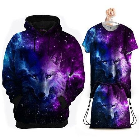 KIT Moletom Lobo Galáxia - Grátis Camisa e Bolsa