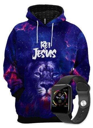 KIT Moletom Leão Rei Jesus e SmartWatch