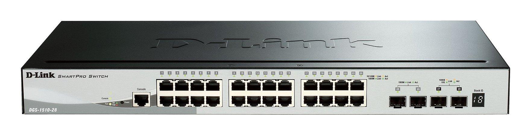 Switch D-Link 24 Portas Gerenciáveis 10/100/1000, 2 Sfp 2 10g Sfp - Dgs-1510-28