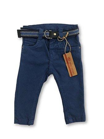 94ae3d0d87ddf2 Calça sarja color azul masculino com cinto listrado tamanho P a 3 ...