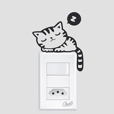 adesivo de parede interruptor gato sonolento