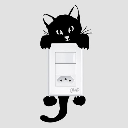 adesivo de parede interruptor gato paçoca