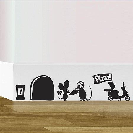 adesivo de parede rodapé rato delivery
