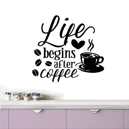 adesivo de parede life begins after coffee