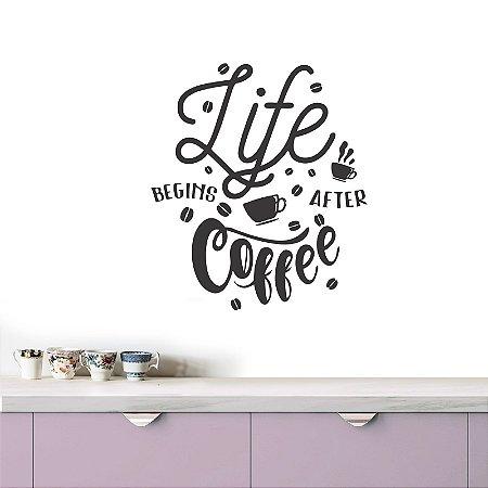 adesivo de parede life begins after coffee II