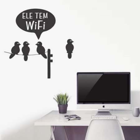 adesivo de parede pássaro wifi