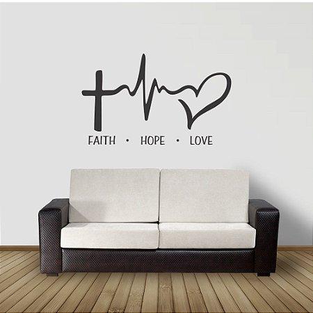 adesivo de parede faith hope love