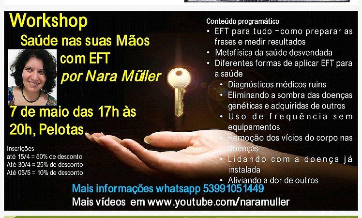 """AUDIOCURSO GRAVADO EM MP3 """"A saúde em suas mãos com EFT por Nara Müller"""""""