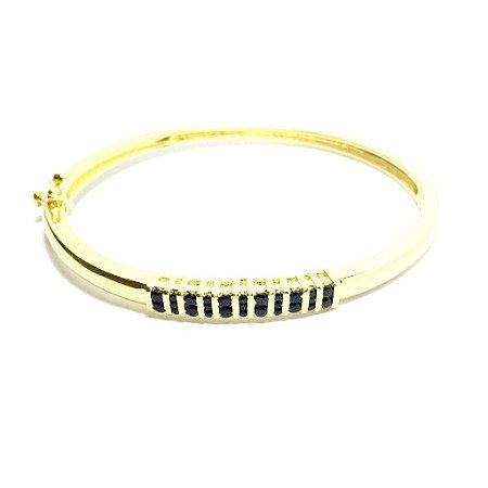 Bracelete Zircônias Negras *Semi Jóia