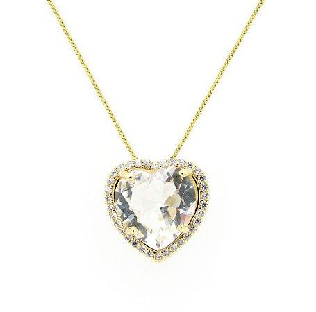 Colar Coração Crystal Cravejado *Semi Jóia
