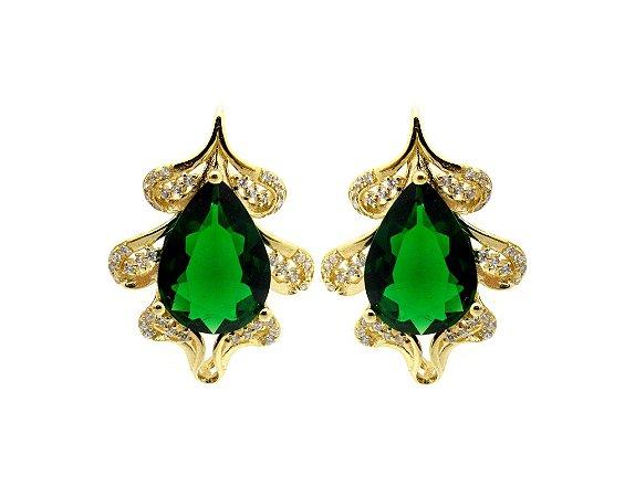 Brinco Gota Verde Esmeralda *Semi Jóia
