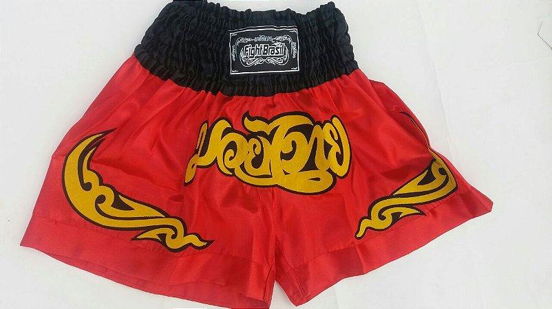 Short de Muay Thai Fight Brasil Clássico Vermelho - ADULTO