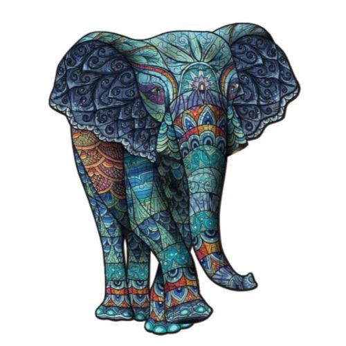 Quebra Cabeça de Madeira Irregular Elefante A4