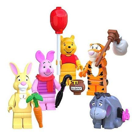 Kit 5 Bonecos Ursinho Pooh Puff Tigrão leitão Bisonho Abel Disney Bloco de Montar Compatível
