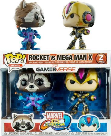 Funko Pop Marvel vs Capcom Rocket vs Mega Man X Pack Exclusivo