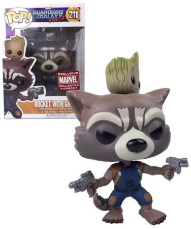 Funko Pop Marvel Guardiões da Galáxia Rocket with Raccon Exclusivo Collector Corps #211