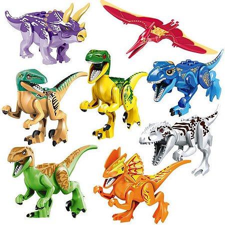 Bloco de Montar Jurassic Park Colors Kit 8 Dinossauros