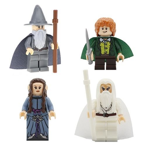 Bloco de Montar Senhor dos Anéis Gandalf Sam Saruman Kit 4 Bonecos