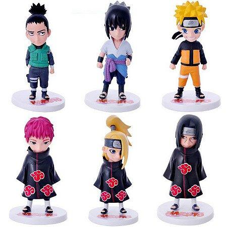Set c/ 6 Miniaturas Naruto Uzumaki Gaara Itachi Sasuke Deidara PVC
