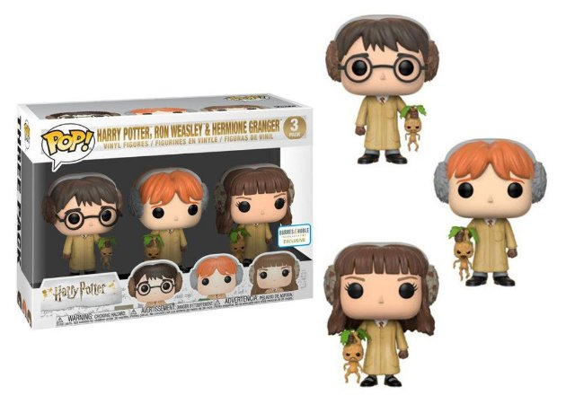 Funko Pop Harry Potter, Ron Weasley e Hermione Granger Herbology 3 Pack Exclusivo