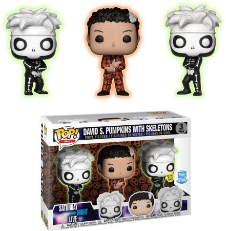 Funko Pop Saturday Night Live David S. Pumpkins w/ Skeletons Glow Exclusivo 3 Pack