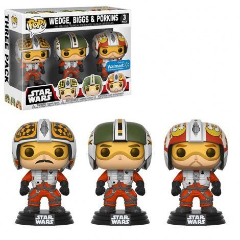 Funko Pop Star Wars Wedge, Biggs E Porkins 3 Pack Exclusivo