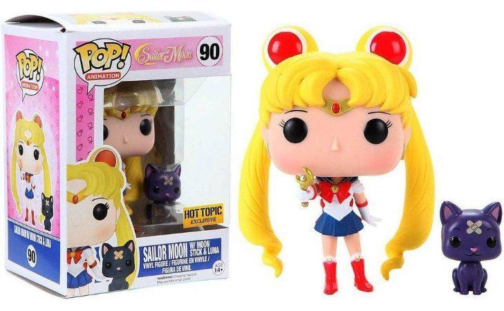 Funko Pop Sailor Moon with Moon Stick and Luna Exclusivo #90