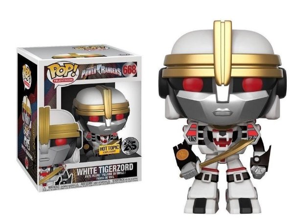 "Funko Pop Power Rangers White Tigerzord 6"" Super Size Exclusivo #668"