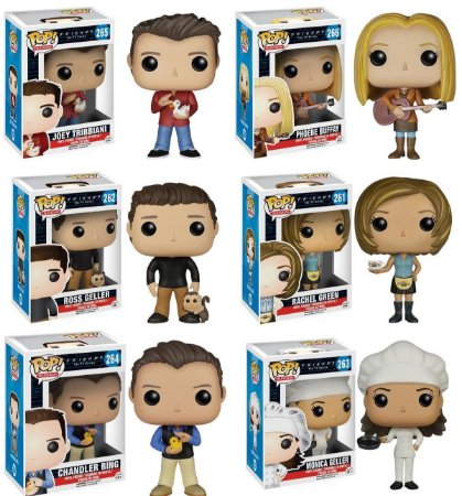 Funko Pop Friends Set Completo Monica, Phoebe, Rachel, Ross, Chandler e Joey