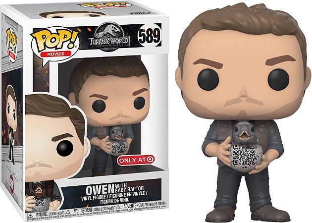 Funko Pop Jurassic World Owen with Baby Raptor Exclusivo #589