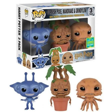 Funko Pop Harry Potter Cornish, Mandrake e Grindylon 3 Pack Exclusivo SDCC 16