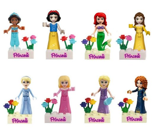 Bloco de Montar Princesas Disney Kit 8 Bonecas