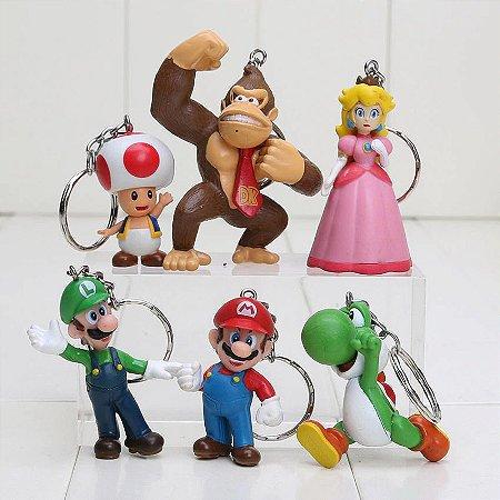 Chaveiros Super Mario Bros Luigi Yoshi Donkey Princesa Toad Kit c/ 6