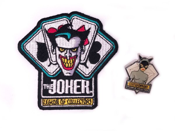 Pin Catwoman e Patch Joker Villains Dc Legion Of Collectors